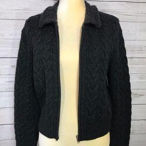 Jones New York Wool Blend Zipper Sweater Cardigan